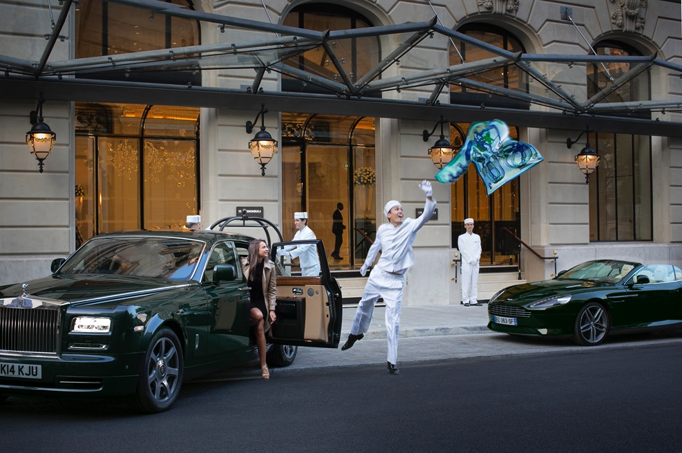 The Peninsula Paris with Pageboy and Rolls Royce