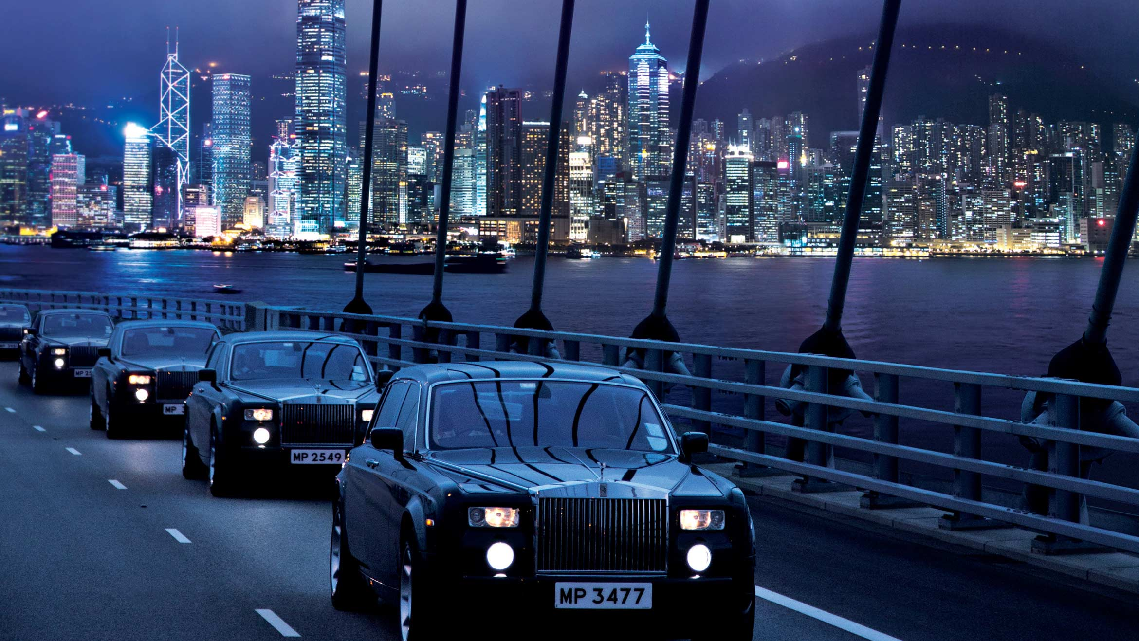The Rolls Royce Fleet on Tsing Ma Bridge